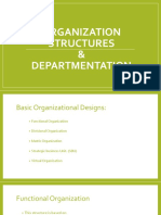 Departmentation in organizational structure