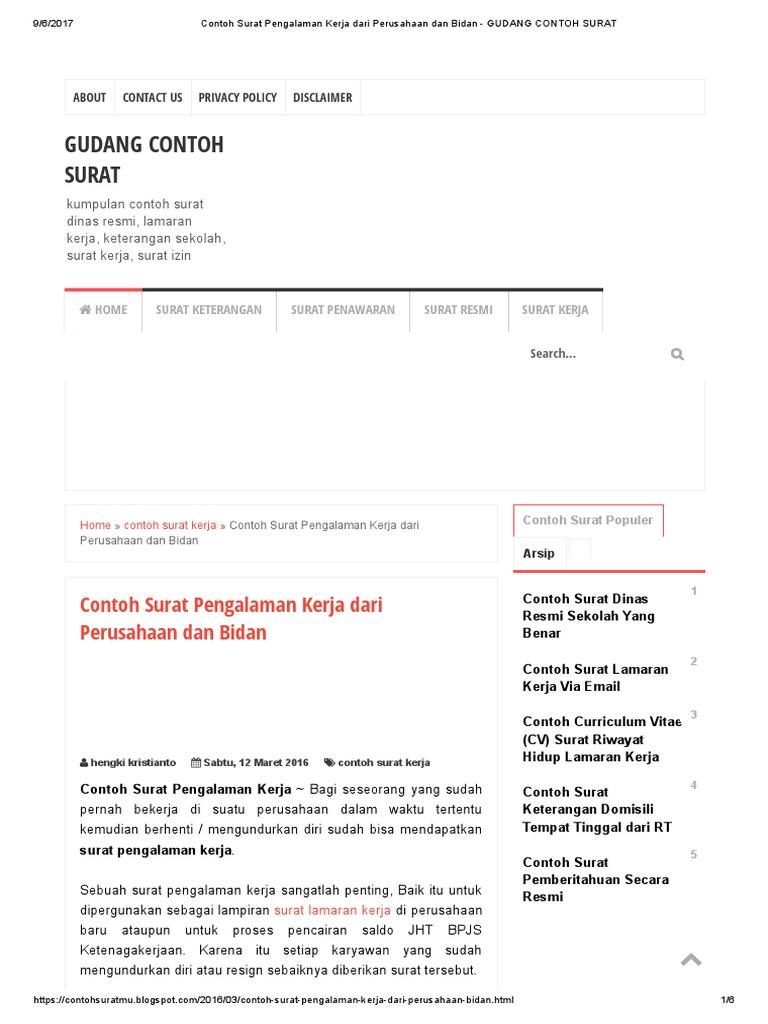 Contoh Surat Pengalaman Kerja Dari Perusahaan Dan Bidan Gudang