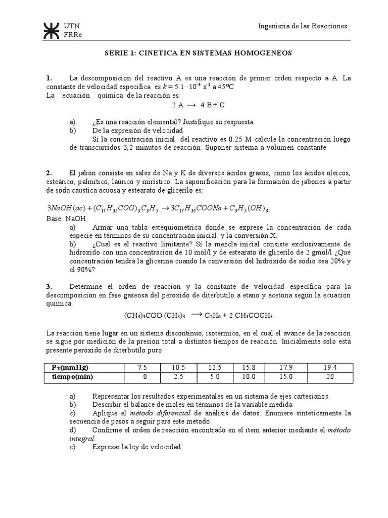 Serie 01 - Cinetica en Sistemas Homogeneos 2017