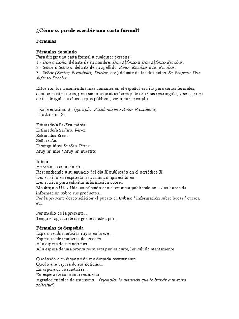Escribir Carta Formal En Espanol Ausreise Info