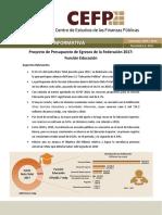 Centro de Estudios de Finanzas Públicas - Proyecto de Presupuesto de Egresos de La Federación 2017 Función Educación