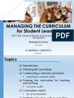 Managing the Curriculum for Student Learning