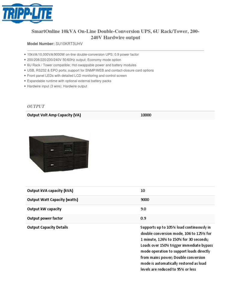 Smartonline 10Kva On-Line Double-Conversion Ups, 6U Rack