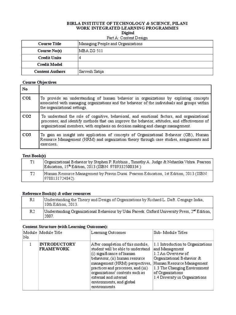 MBA ZG511   Organizational Behavior   Human Resource Management
