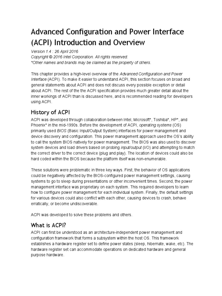 ACPI Introduction   Device Driver   Operating System