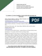 CLASSIFICAÇÃO DE PADRÕES UTILIZANDO DESCRITORES DE TEXTURA