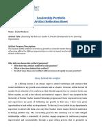 Artifact 6 Reflection Sheet Updated
