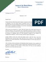 Letter to Speaker Ryan 090717