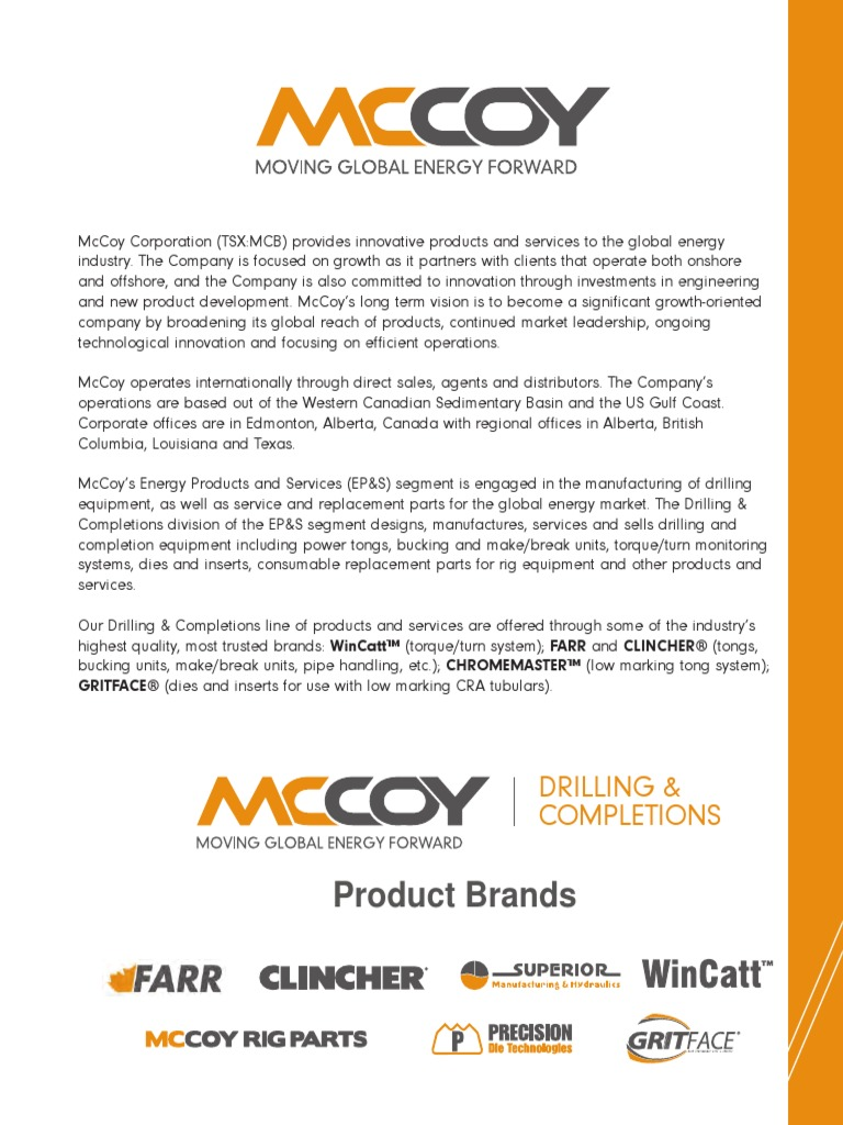 Mccoy Drilling Completions Catalog 2011 | Gear | Mechanical Engineering