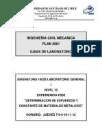 C202 Determinación de Esfuerzos y Constante de Materiales