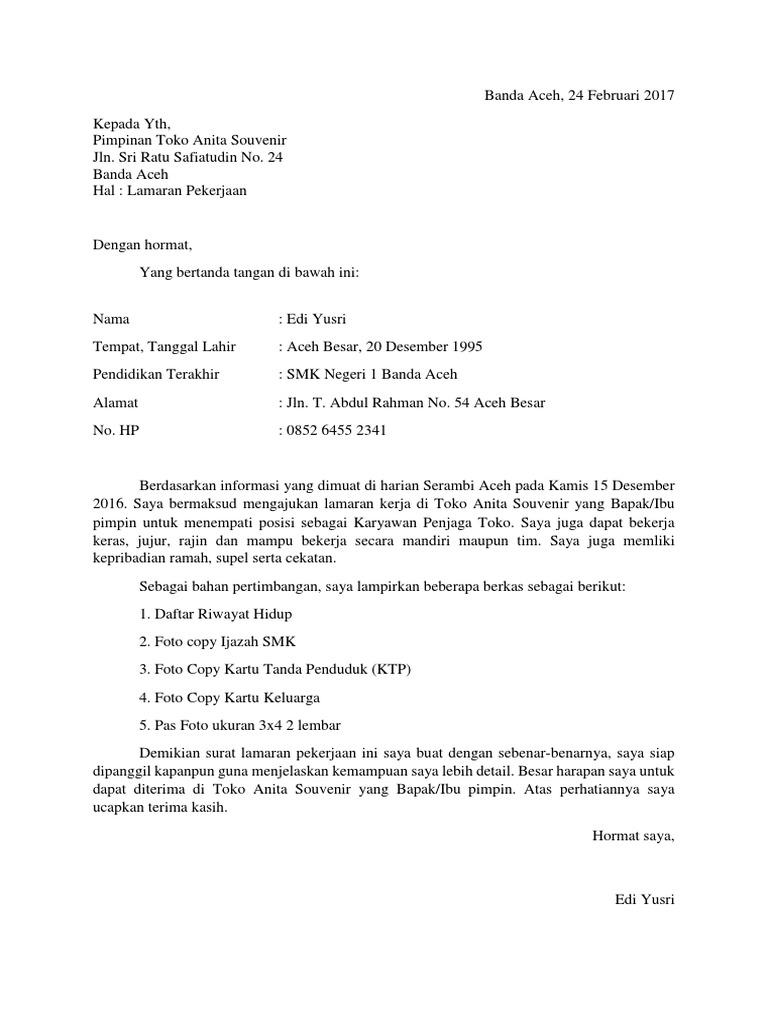 Cara Memuat Surat Contoh Surat Lamaran Kerja Tulis Tangan Di Toko Roti