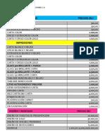 Precios Print Express 13-07-2017