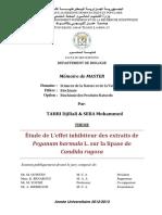Étude de L'Effet Inhibiteur Des Extraits de Peganum Harmala L. Sur La Lipase de Candida Rugosa