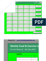 Copy of Weekly Food & Exercise Log - Calorie Tracker