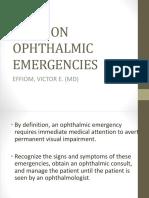 Opthalmic Emergencies Presentation