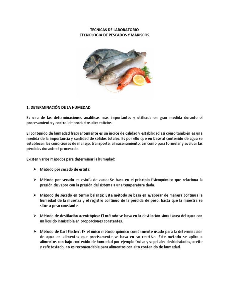 Tecnicas De Laboratorio Pescados Y Mariscos Valoración Química