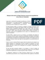Nota de Prensa Encuentro Papa Francisco y Obispos en Colombia