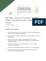 M6Big Data y Ciencias Sociales. Usando Lentes Cuantitativos Para Entender La Cultura