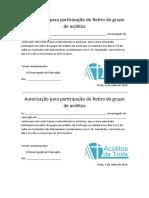 Autorização para participação do Retiro do grupo de acólitos