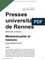 Métatextualité Et Métafiction - Métatextualité Et Histoire - Presses Universitaires de Rennes