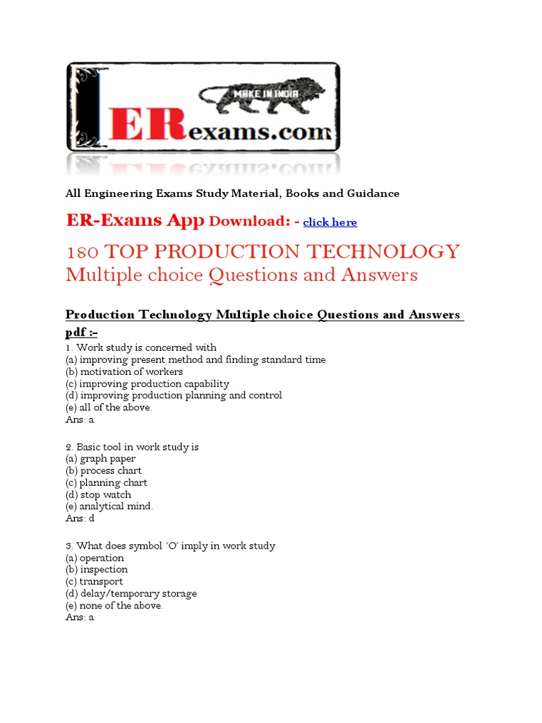 180 TOP PRODUCTION TECHNOLOGY Multiple Choice Questions and Answers