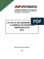 falta de asesoría legal y jurídica en mypes andahuaylas