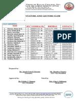 Commentators and Lectors Club Official List.
