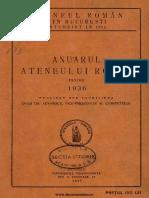 Anuarul Atheneului Român  pe anul 1937 - Familia Balamace + Constantin Noe