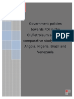 Government Policies Towards FDI in the Oil and Petroleum Sector
