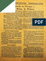 1946. Declaracion de Principios y Plan de Gobierno A