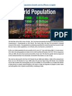 Essay on Population Growth and Its Effects in English