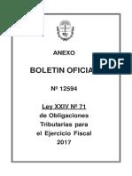 Enero 02, 2017 - LEY XXIV N° 71 de Obligaciones Tributarias