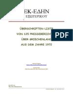 1423-Presseberichte Über Griechenland 1972