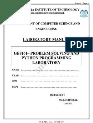 Ge8161– Problem Solving and Python Programming Laboratory | C