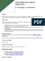 Actividad de Aprendizaje 1. El Lenguaje y La Comunicación