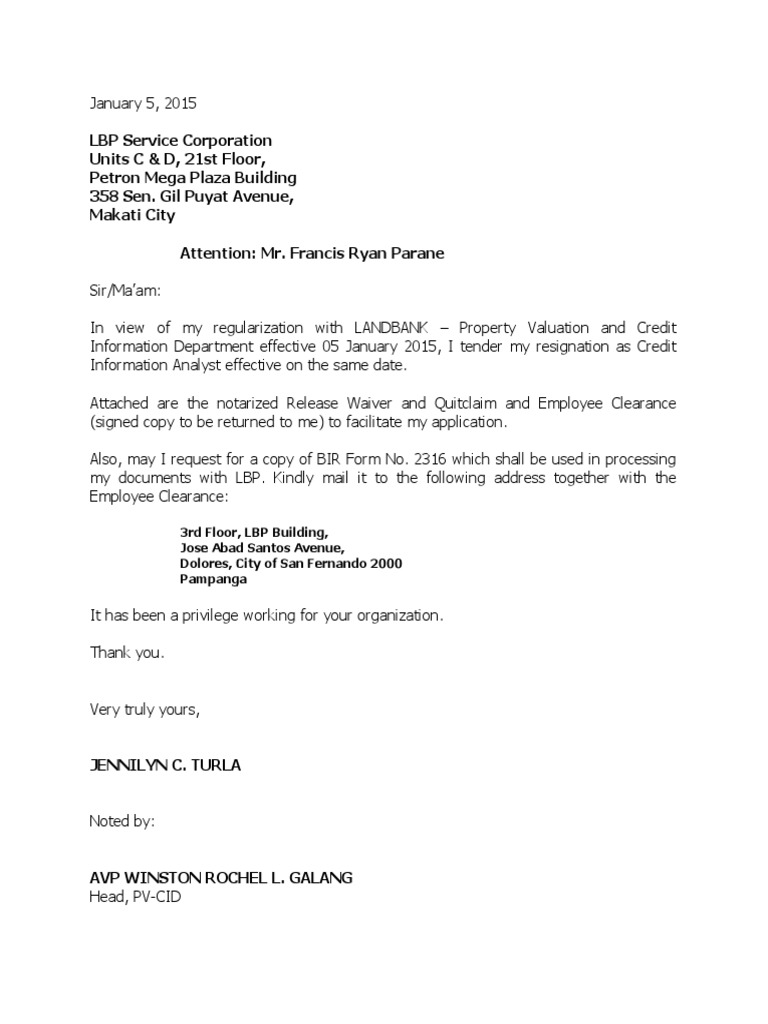 Employee Clearance Form   Resig Letter Clearance And Quit Claim 1 Employee Benefits