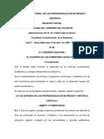 Ley de Defensa de Los Profesionales en Nutrición y Dietética ECUADOR