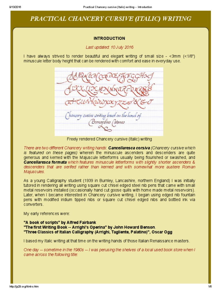 1 - practical chancery cursive (italic) writing -- introduction
