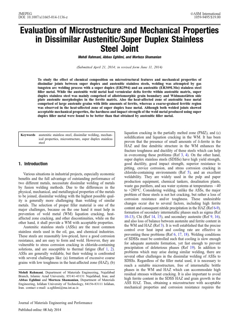 Evaluation of Microstructure and Mechanical Properties in Dissimilar ...