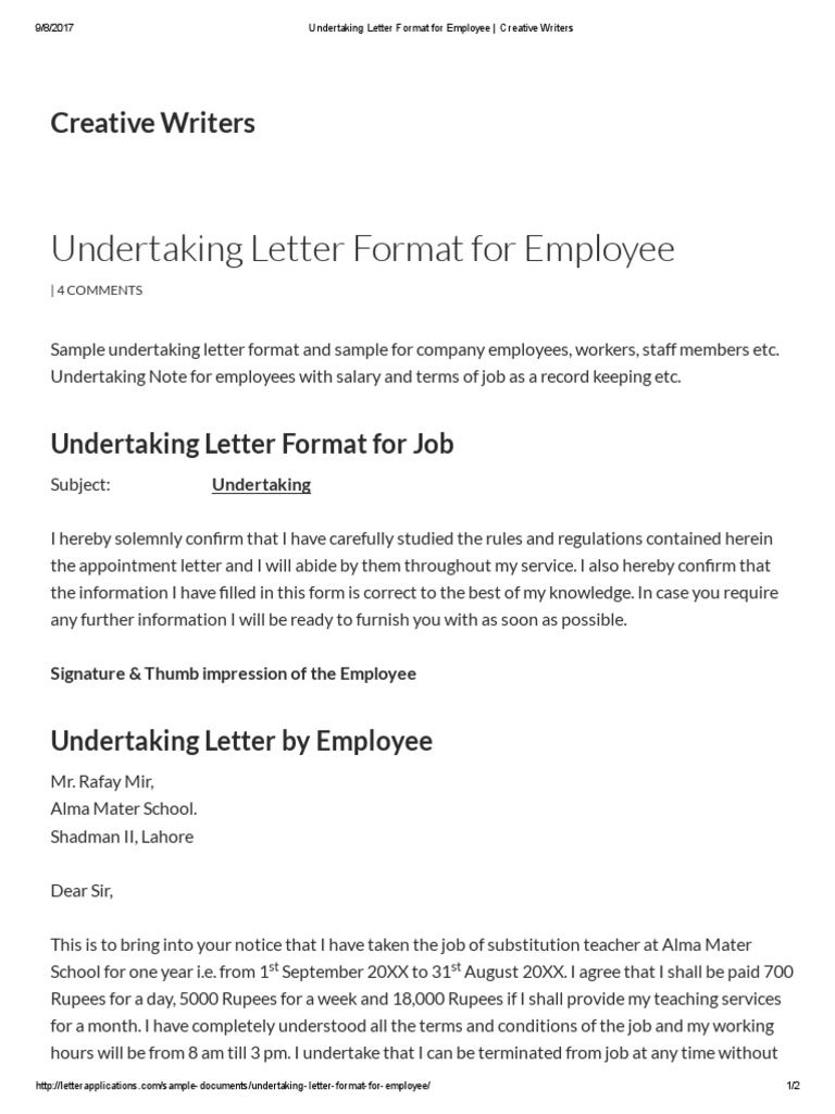 undertaking letter format for employee _ creative writers labor employment