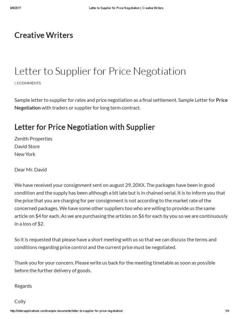 Letter to supplier for price negotiation creative writers letter to supplier for price negotiation creative writers negotiation prices aljukfo Images