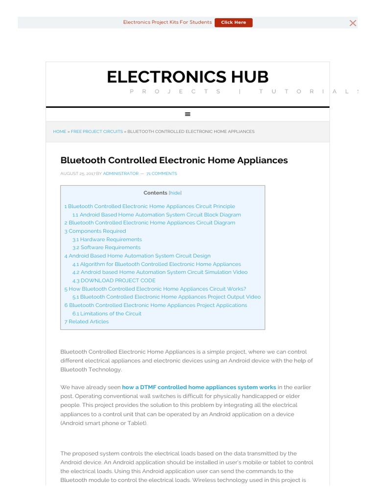 Bluetooth Controlled Electronic Home Appliances Android Operating Project Circuits System Electronics