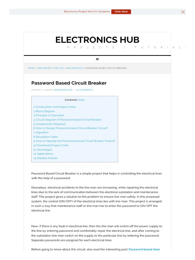 Password Based Circuit Breaker Electrical Substation New Electronics Projects Diagram