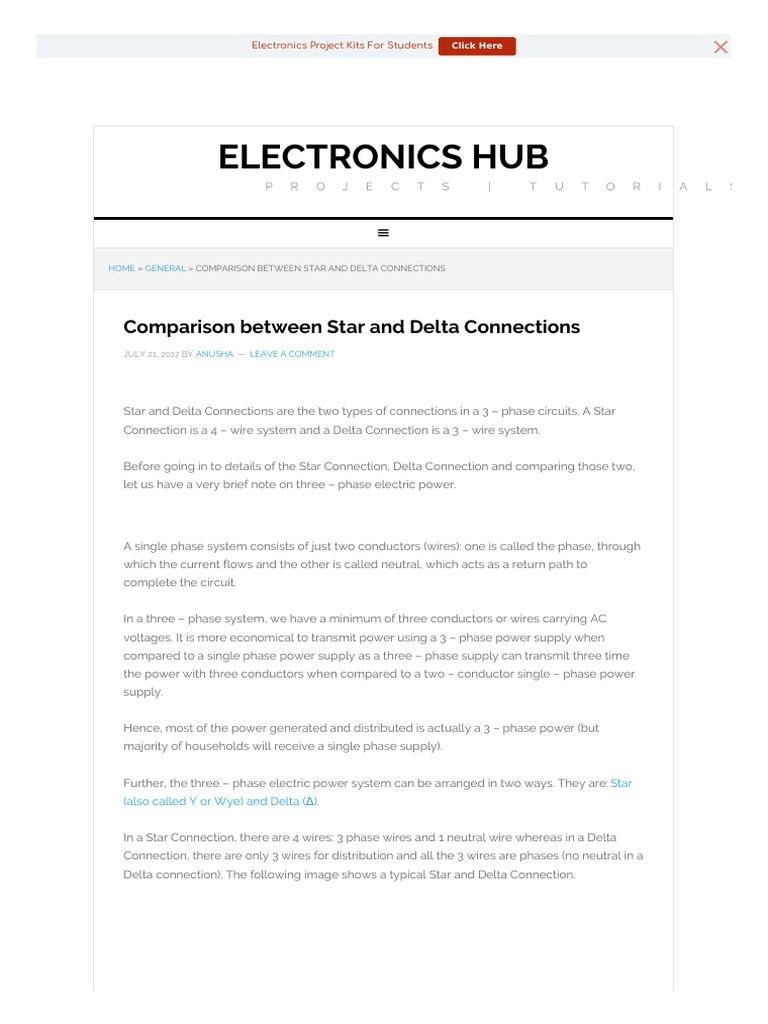 Comparison Star Delta Connections | Force | Electrical Engineering