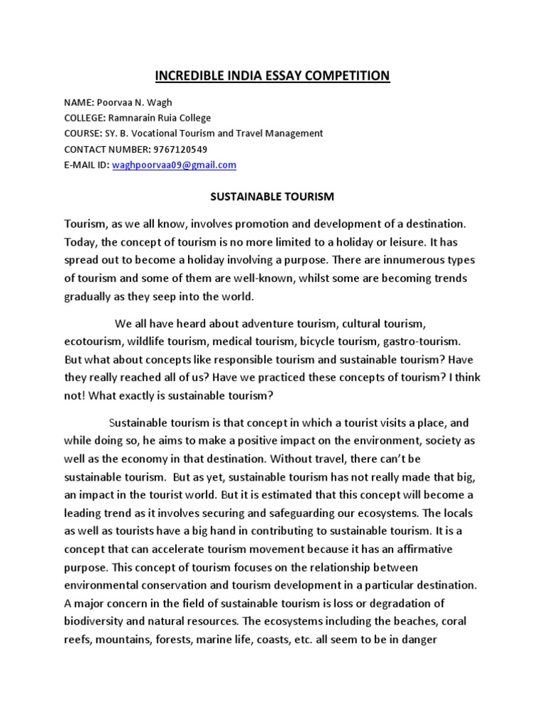 essay on eco tourism in india