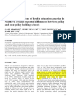 Teachers Perceptions of Health Education Practice in Northern Ireland