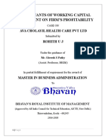 A Study on Working Capital Management- AVA Cholayil Health Care Pvt. Ltd