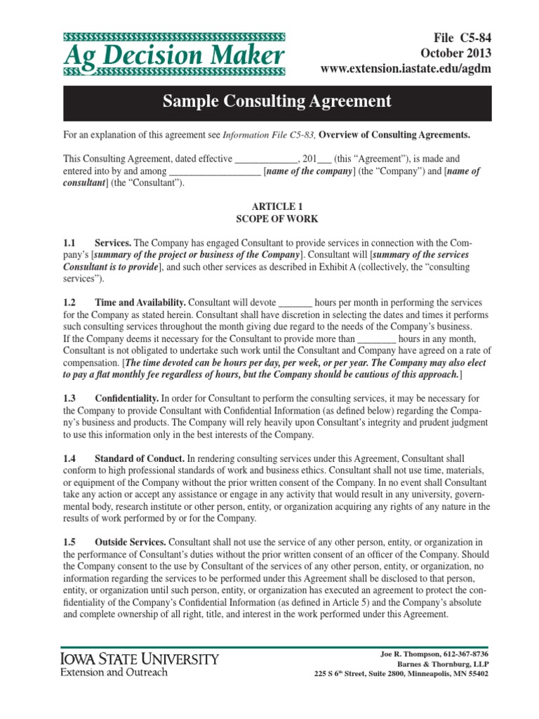 Sample Consulting Agreement Payroll Tax Arbitration