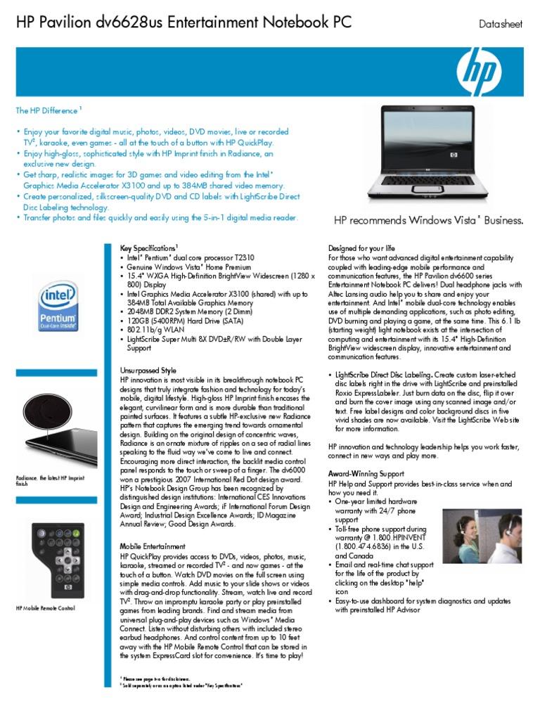 HP Pavillion Dv6500 Data Sheet | Dvd | Windows Vista