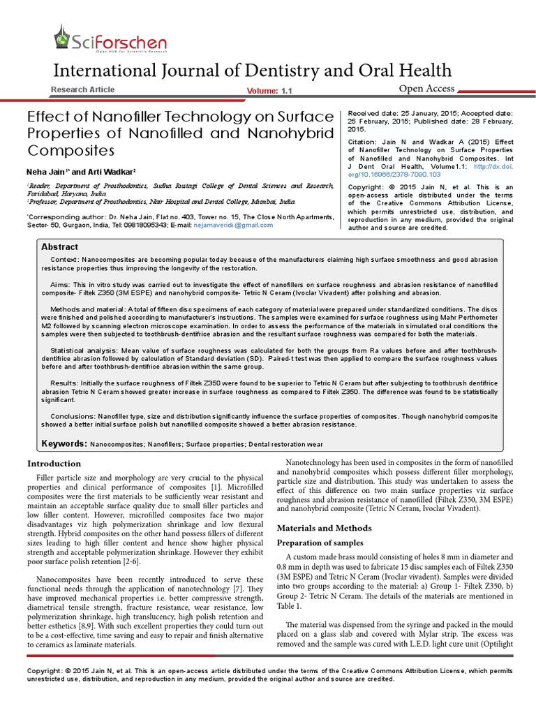 jurnal nano3 pdf | Dental Composite | Surface Roughness